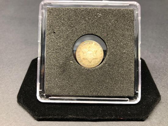 1852 Silver 3 Cent Piece