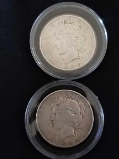 1923 1925 Peace Silver Dollar 2 Units
