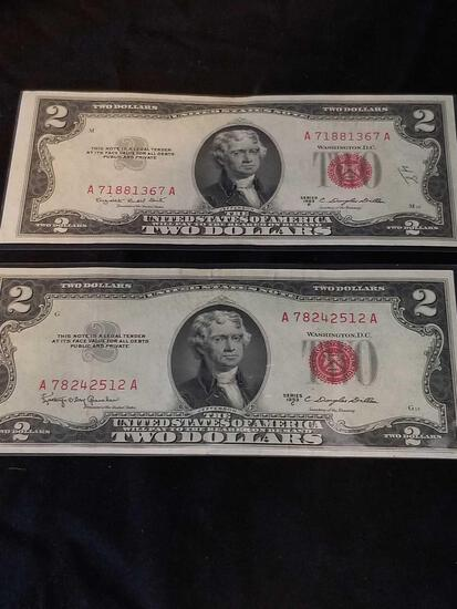 1953 Redseal 2 Dollar Bill 5 Units
