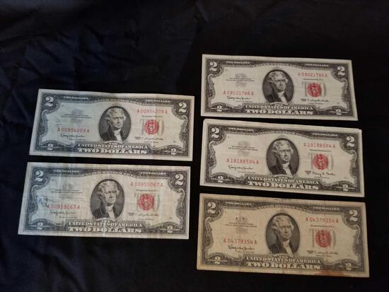1963 Redseal 2 Dollar Bill 5 Units