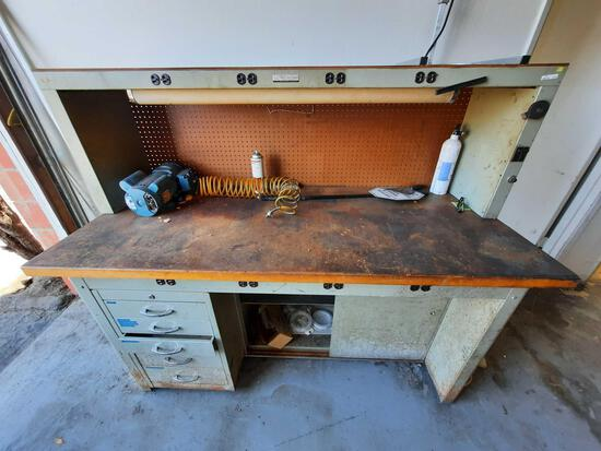 Master Metal Products Workbench with Electrical Outlets & Contents rm3