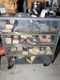 Rolling Metal Cart Plexiglass Front with Contents