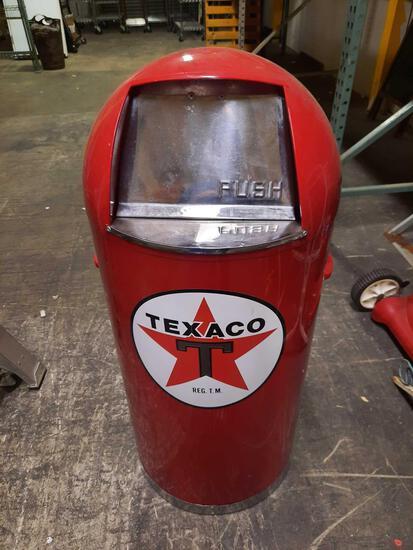 Texaco Trash Bin w/ Signed Can