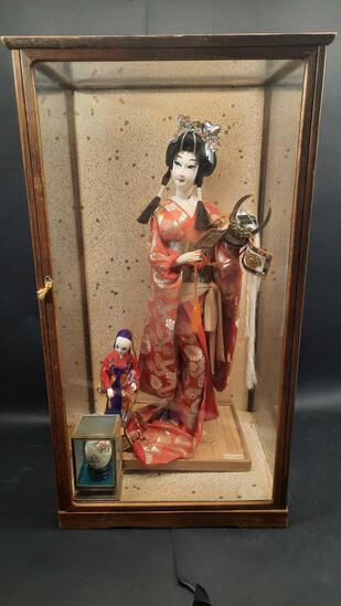 Samuri Days Hakata Doll 'Yaegakihime' & Others w/ Display Case