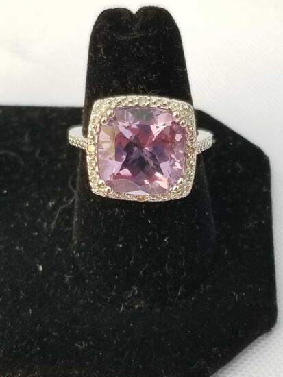 4 Carat Amethyst Diamond Ring Sterling Silver