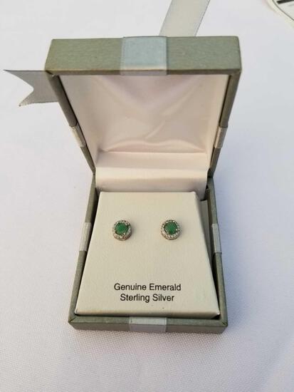 Genuine Emerald Diamond Sterling Silver Earrings