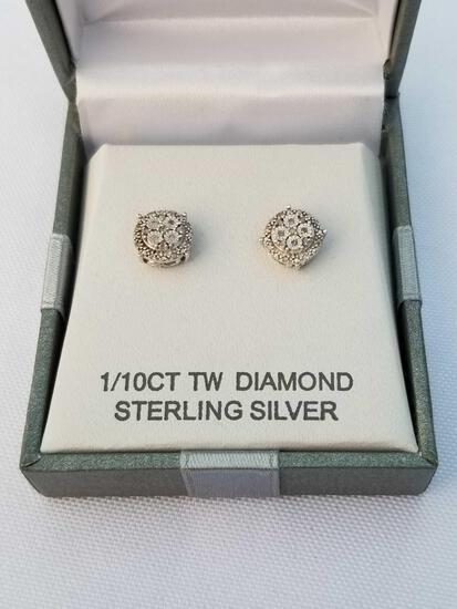 1/10 Carat Diamond Sterling Silver Earrings