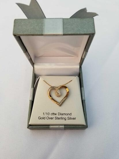1/10 Carat Diamond Gold Over Sterling Silver Heart Necklace