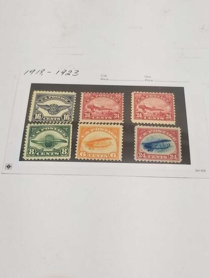 1918-1923 US Postage Stamps Planes 6 Units