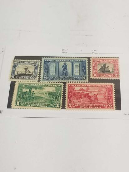 1925 1 2 5 Cent US Postage Stamps 5 Units