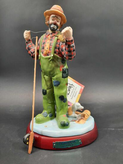 Flambro Emmet Kelly Jr. Collectible Clown 'Fisherman'