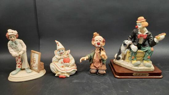 Clown Figurines 4 Units, J. J. Jones, Slapstix, Enesco