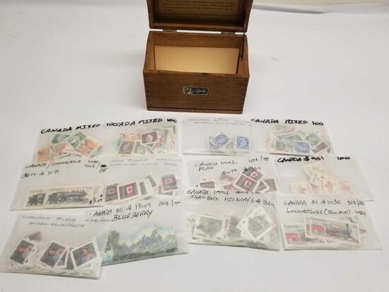 1000+ Vintage Canadian Stamps Wood Box