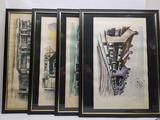 Framed Watercolor Art Signed 4 Units