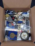Bin of Miscellaneous, Army Badges, Knives, Medals, Pins etc