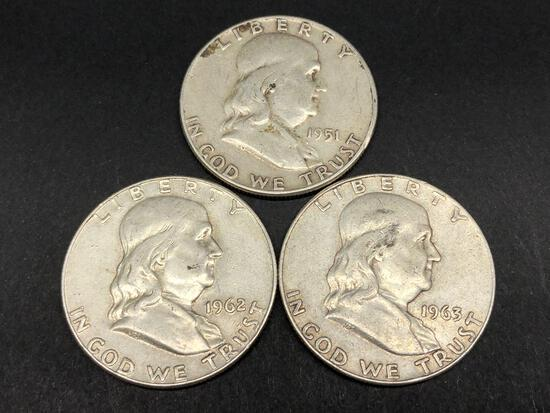 3 Circulated Franklin 90% Silver Halfs