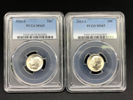 2 PCGS Certified MS-65 Roosevelt Dimes 1953-S