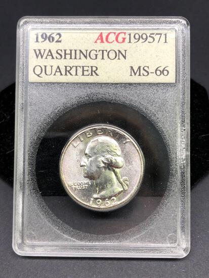 1962 Washington Silver Quarter Vintage Slabbed