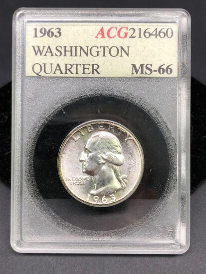 1963 Washington Silver Quarter Vintage Slabbed