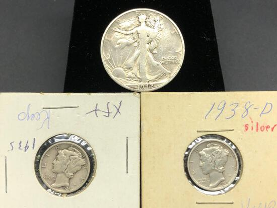 Walking Liberty Half Dollar, Mercury Dimes 90% Silver