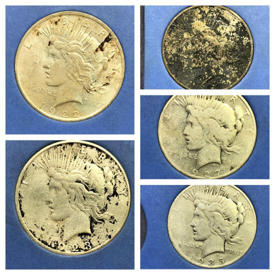 Peace Silver Dollar Album, 5 Coins
