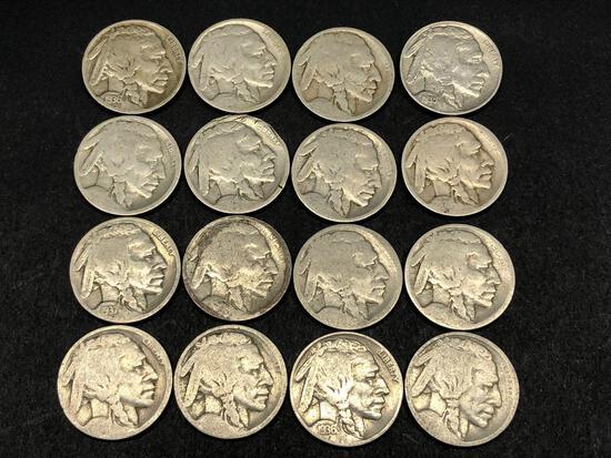 16 Low End Buffalo Nickels