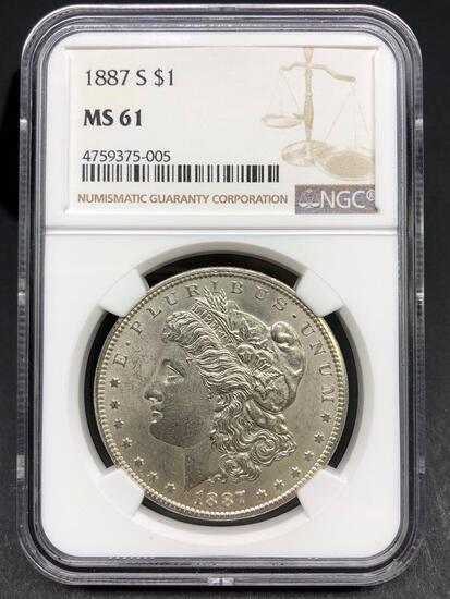 1887-S Morgan Silver Dollar Slabbed MS-61