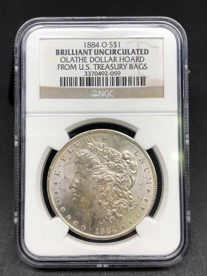 1884-O Morgan Silver Dollar Slabbed BU