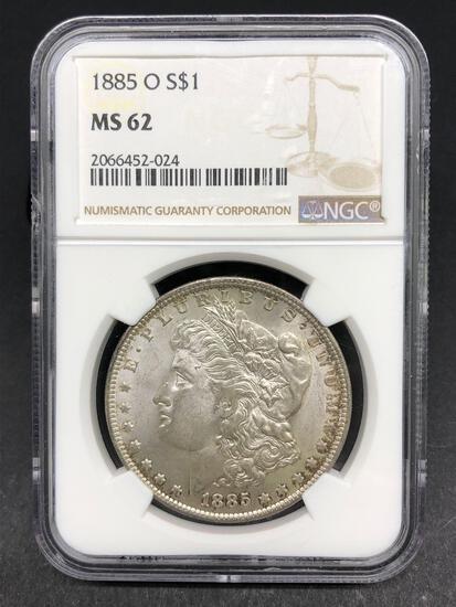 1885-O Morgan Silver Dollar Slabbed MS-62