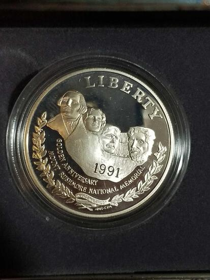 1991 Mount Rushmore 90% Silver 2 Coin Set