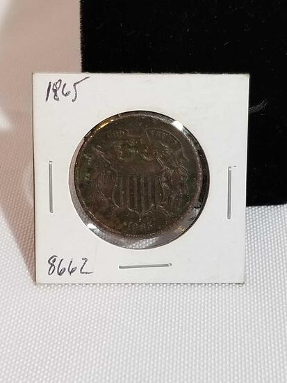 1865 2 Cent Piece Coin