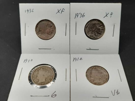 4 Coin Nickel Lot, Buffalo + Liberty Better Grades XF Coins