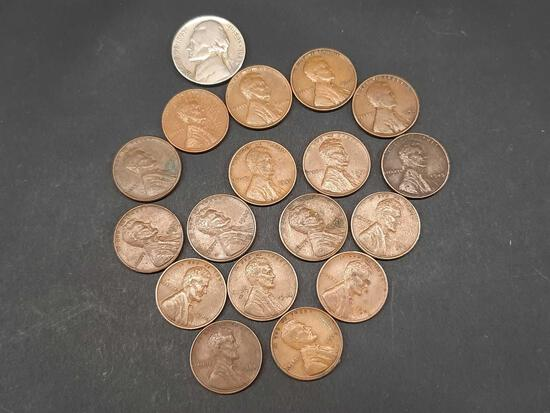 17 Wheat Cent Pennies + Jefferson Nickel