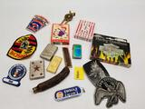Junk Drawer Lot Lighters Buckle Cards Patches