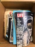 Box of Moon Landing newspapers & magazines