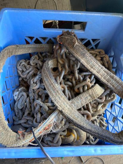 Crate of chain straps shackle