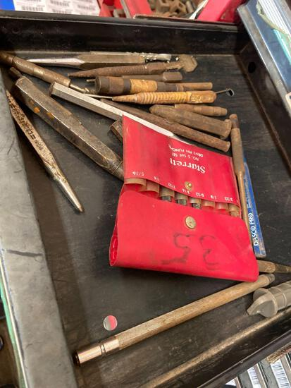 Shelf contents TR5141 hole punches nail sets etc.