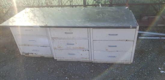 6ft desk slate top metal drawers rust