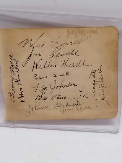 1930 Letter Signed Joe Sewell 19 Signatures