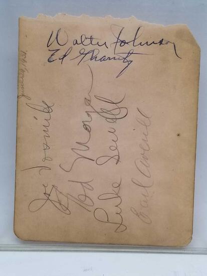 1930 Letter Signed Walter Johnson Earl Averill