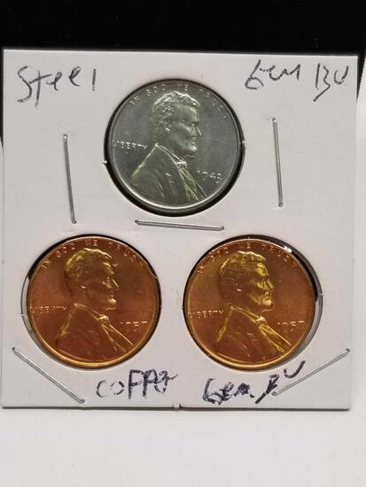 Steel Cent Copper Trio Gem Bu Originals