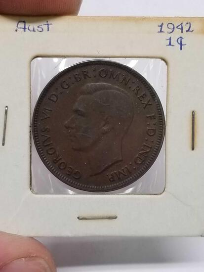 1942 Australian Large Penny Copper Coin Nice Au++++