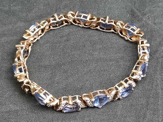 Womens Silver Blue Stone Bracelet