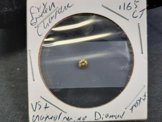 Diamind Round .16+ct Firey Green Champagne Natural Mined Gem Stone