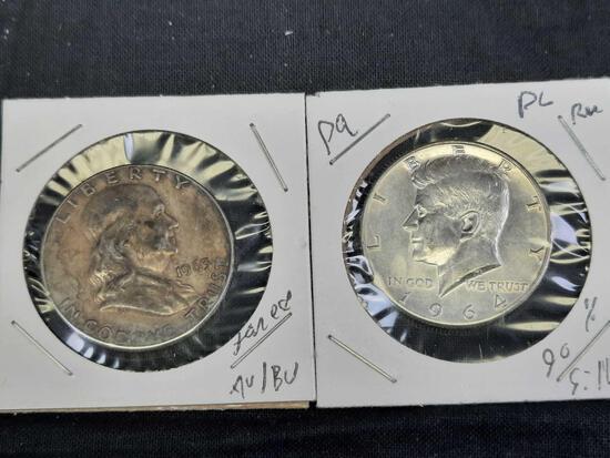1964 Kennedy Silver Half + 1965 Franklin Silver Half Dollars, 2 Units