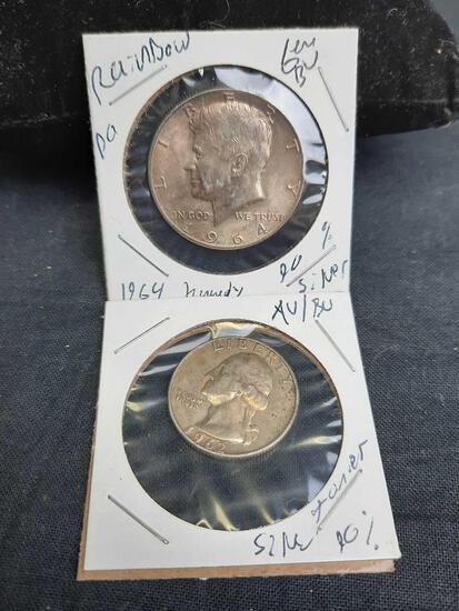 1964 Kennedy Half Dollar Gem Bu Rainbow Wow Coin Premium + Bonus Washington Quarter 90%