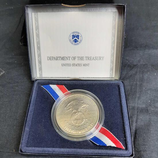 1991 USO Proof Silver Dollar .76 Troy Oz Fine Silver Original Bkx w/ CoA