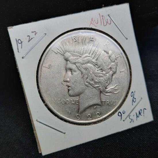 1922 Silver Peace Dollar 90% Silver au/bu