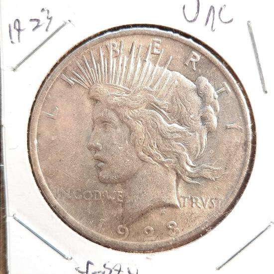 1923 Peace Dollar Frosty White Unc 90% Silver