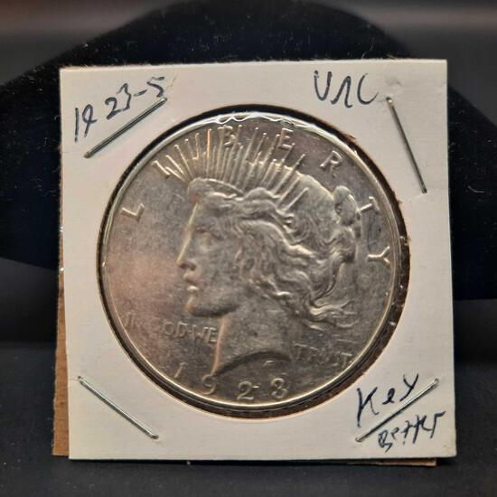 1923-S Silver Peace Dollar Better Date Unc Frosty Luster Nice